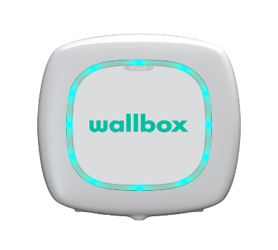 White square Wallbox Pulsar Plus electric vehicle charging unit with rounded corners and green writings