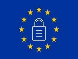 Blue and white GDPR compliance logo surrounded by yellow stars