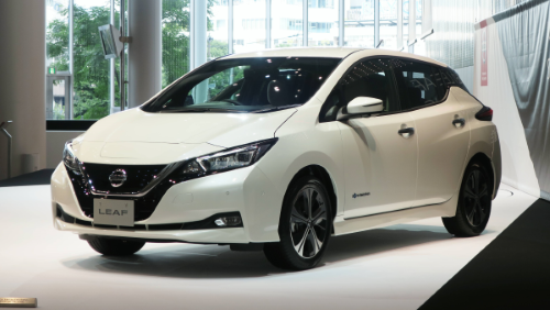 Brand new electric Nissan Leaf on display