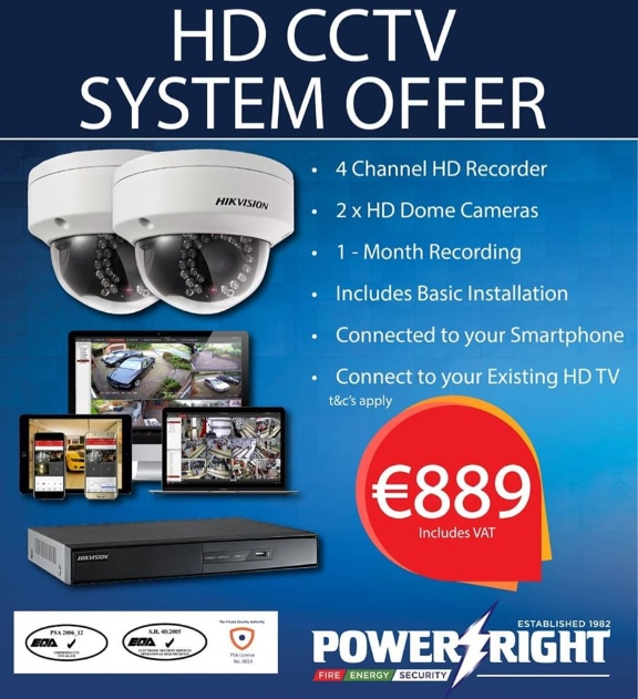 HD CCTV camera offer including 4 channel hd recorder, 2 hd dome cameras, one-month recording, and basic installation