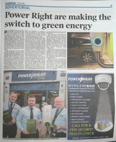 Power Right Ltd. team featured in Sligo weekender newspaper article announcing the switch to green energy solutions